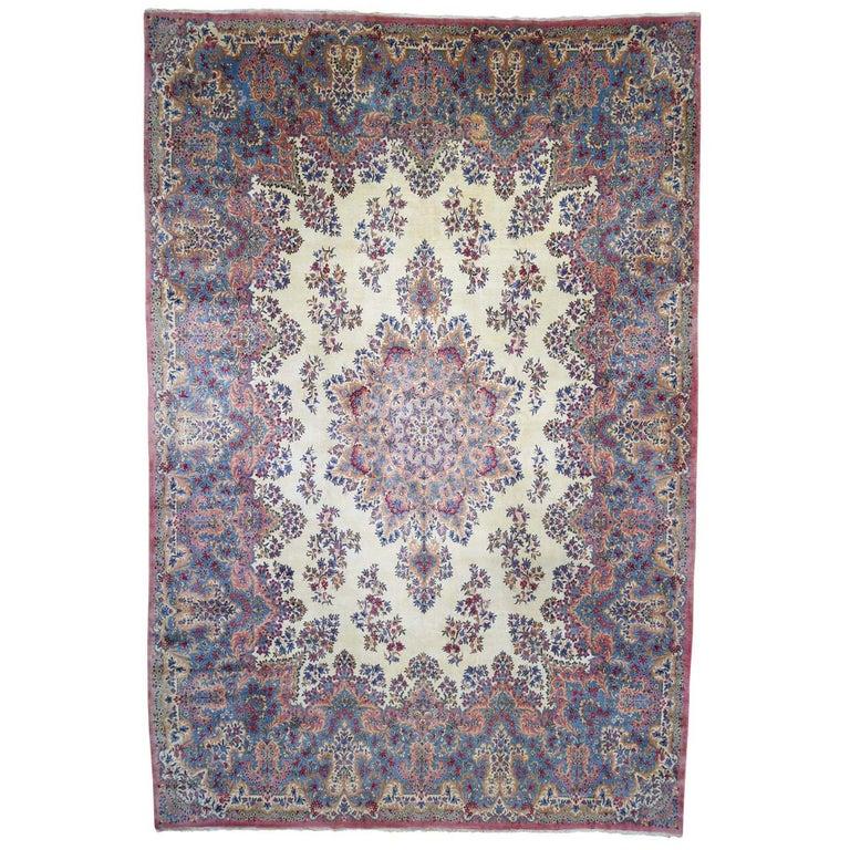 Semi Antique Persian Kerman Full Pile Soft Oversize Rug For Sale