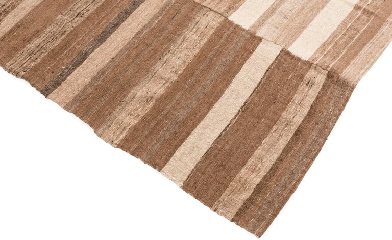 Spun Semi-Antique Persian Lahaf Kilim Natural Undyed Shades of Wool, Cotton Lined For Sale