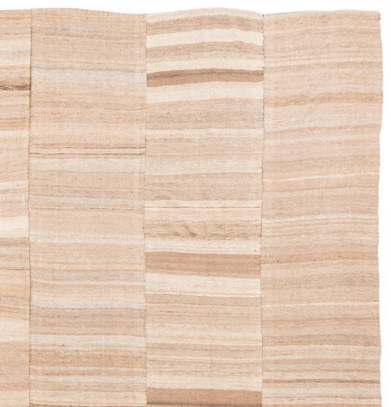 20th Century Semi-Antique Persian Lahaf Kilim Natural Undyed Shades of Wool, Cotton Lined For Sale