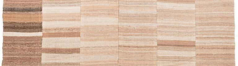 Semi-Antique Persian Lahaf Kilim Natural Undyed Shades of Wool, Cotton Lined For Sale 1
