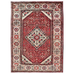 Semi Antique Persian Mahal Rug with Medallion Design in Soft Red and Wide Border