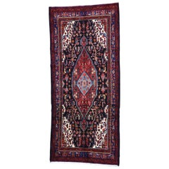Semi Antique Persian Nahavand Hand Knotted Wide Runner Rug