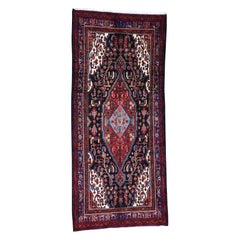 Semi Antique Persian Nahavand Hand-Knotted Wide Runner Rug