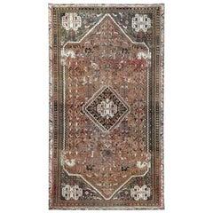 Semi Antique Persian Qashqai Sheared Low Bohemian Handmade Natural Wool Rug