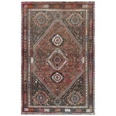 Semi Antique Persian Shiraz Rust Red Cropped Thin Bohemian Wool Handmade Rug