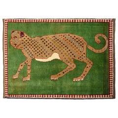 Semi-Antique Persian Yalameh Carpet in Green, Brown, and Red Wool