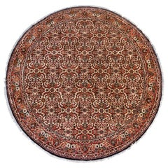 Semi Antique Round Circular Red Brown Navy Blue Ivory Floral Persian Bijar Rug