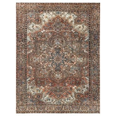 Semi Antique Rust Red with Sunset Colors Persian Oriental Rug