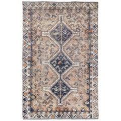 Semi Antique Tan Color Handmade Wool Persian Shiraz Sheared Low Bohemian Rug