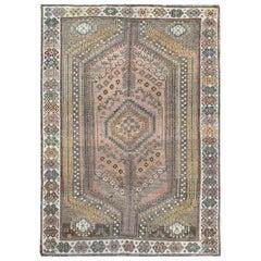 Semi Antique Tan Color Persian Shiraz Distressed Bohemian Wool Handmade Rug