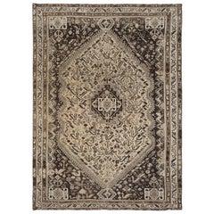 Semi Antique Taupe Handmade Persian Shiraz Bohemian Worn Down Natural Wool Rug
