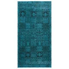 Semi Antique Teal Persian Bakhtiari Sheared Low Garden Design Handmade Rug