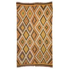 Semi-Antique Turkish Kilim Rug with Southwestern Bohemian Style