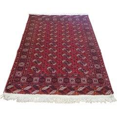 Semi Antique Turkomen or Turkmenistan Very Fine Bohkara, Wool, Rich Red