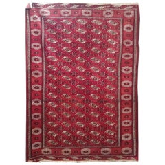 Semi Antique Turkomen or Turkmenistan Yamout Bohkara, Wool, Rich Red