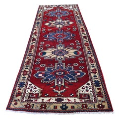 Semi Antique Vintage Heriz Runner Hand Knotted Oriental Rug