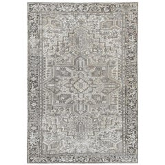 Semi Antique Washed Out Ivory Persian Heriz Oriental Rug