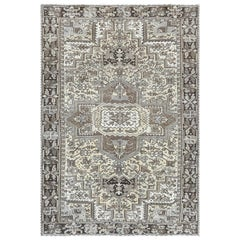 Semi Antique Washed Out Persian Heriz Cropped Thin Wool Handmade Rug