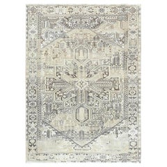 Semi Antique Washed Out with Abrash Persian Heriz Oriental Rug