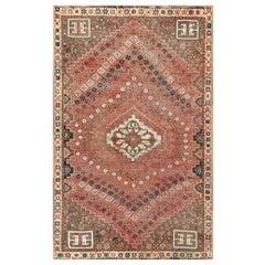 Semi Antique Wool Persian Qashqai Cropped Thin Handmade Shabby Chic Rug