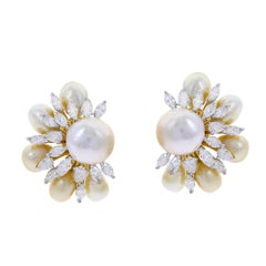 Semi-Circle Pearl and Diamond Earrings, 18 Karat Yellow Gold