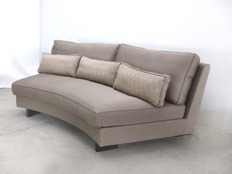 Umberto Asnago Mobilidea Semi-circular Sectional Sofa, Italy  Offered for sale is a large semi-circular sectional sofa in three pieces designed by Umberto Asnago for Mobilidea, Italy. The measurements provided are for each section, with a total