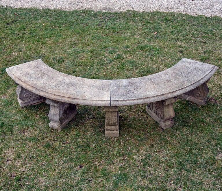 Neoclassical Semi-Circular Stone Bench For Sale