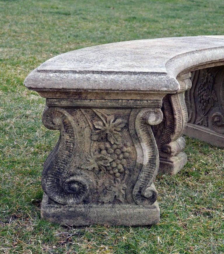 English Semi-Circular Stone Bench For Sale