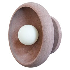 Semi Flush Mount in Hand Carved Rose Stone, Piedra Lighting Collection