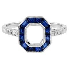 Semi-Mount Diamond Blue Sapphire Engagement Ring