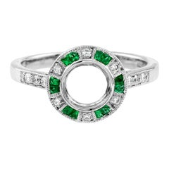 Semi-Mount Diamond Emerald Engagement Ring