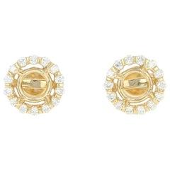 Semi-Mount Diamond Halo Earrings, 14 Karat Gold for Centers 3/8 Carat