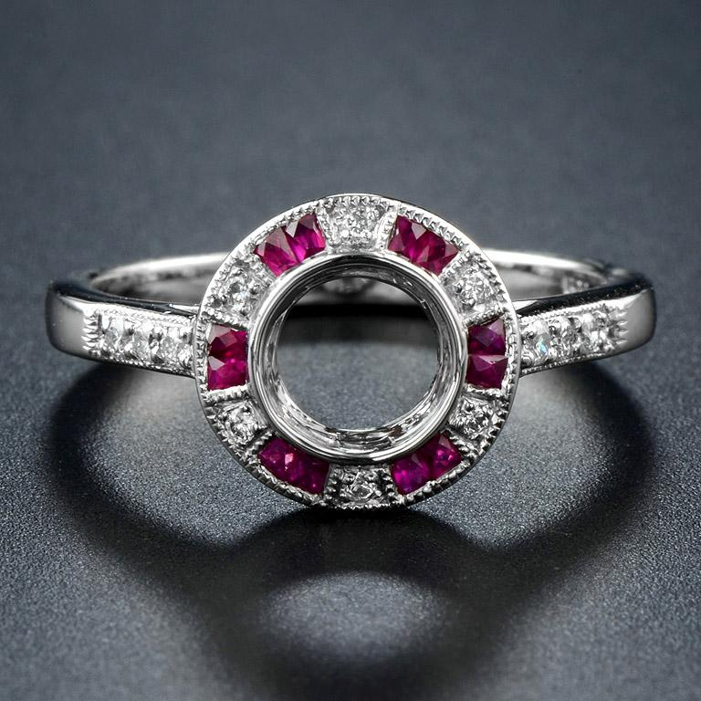 Ruby Engagement Rings For Sale: Semi-Mount Diamond Ruby Engagement Ring For Sale At 1stdibs