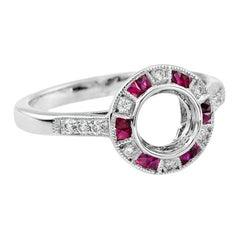 Semi-Mount Diamond Ruby Engagement Ring