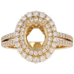 Semi-Mount Double Halo Ring 18 Karat Gold for Oval Cut Diamond Accents .97 Carat