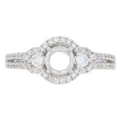 Semi-Mount Engagement Halo Ring, 14 Karat Gold for Center Diamonds .50 Carat