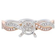 Semi-Mount Engagement Ring 14 Karat Gold Center Diamond Accents .19 Carat