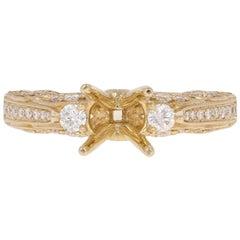Semi-Mount Engagement Ring, 14 Karat Gold Diamonds Round Brilliant .42 Carat