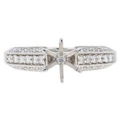 Semi-Mount Engagement Ring, 14 Karat Gold for Center Milgrain with Diamonds