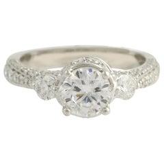 Semi-Mount Engagement Ring, 14 Karat White Gold Center 1.07 Carat