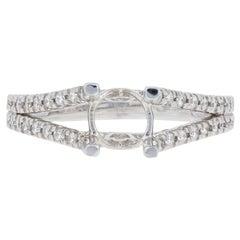 Semi-Mount Engagement Ring 14 Karat White Gold for Center Diamonds .36 Carat