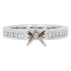 Semi-Mount Engagement Ring 14 Karat White Gold for Center Diamonds .38 Carat