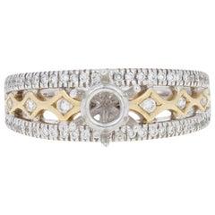 Semi-Mount Engagement Ring, 14 Karat White Gold for Center Dias .27 Carat