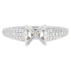 Semi-Mount Engagement Ring, 14 Karat White Gold for Center with Diamonds