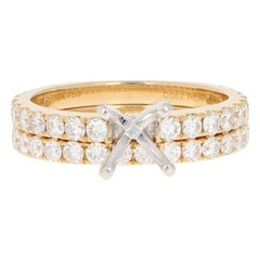 Semi-Mount Engagement Ring and Wedding Band, 18 Karat Gold Diamonds 1.27 Carat