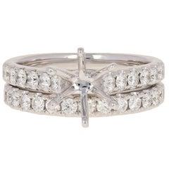 Semi-Mount Engagement Ring & Wedding Band 14k Gold w/ Diamond Accents .81ctw
