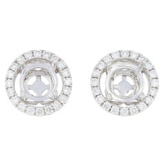 Semi-Mount Halo Earrings, 14 Karat Gold Pierced Studs Diamond Accents .63 Carat