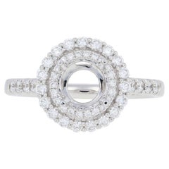 Semi-Mount Halo Engagement Ring 14 Karat Gold Center with Diamond Accents