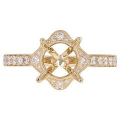 Semi-Mount Halo Engagement Ring, 14 Karat Gold Diamonds Round Brill .25 Carat