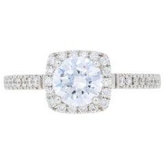 Semi-Mount Halo Engagement Ring, 14 Karat Gold for Center Dias .29 Carat